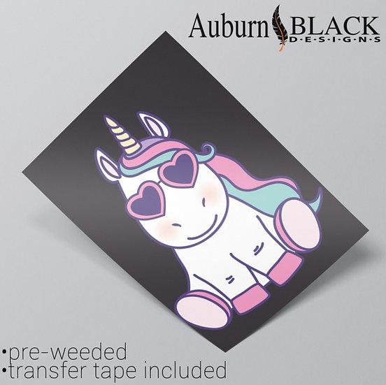 A4 Pastel Cool Unicorn Vinyl Sticker