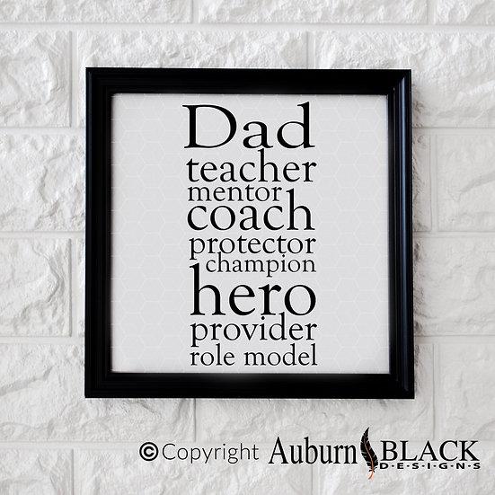 Dad Teacher Mentor... frame vinyl decal