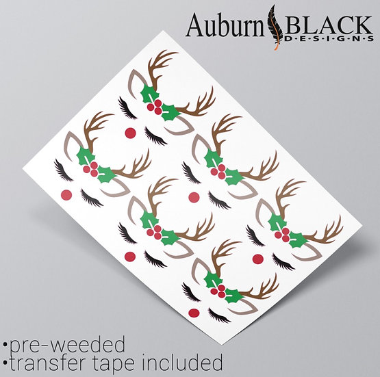 Reindeer with holly Vinyl Stickers