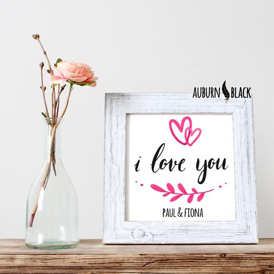 Personalised mini print - I love you