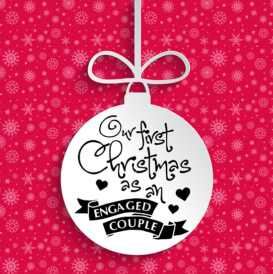 Our First Christmas as an Engaged Couple Bauble Vinyl Decal