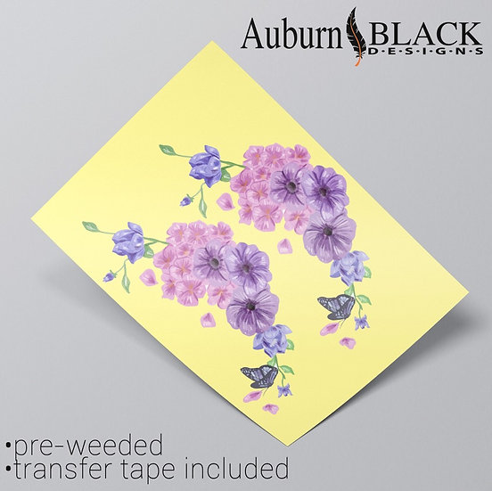 Pair of lilac Floral vinyl stickers suitable as corner ornaments