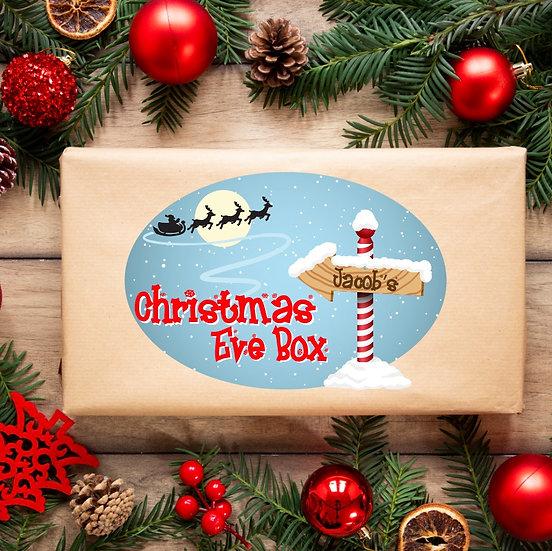 *Brand New* Full Colour Personalised Christmas Eve box sticker