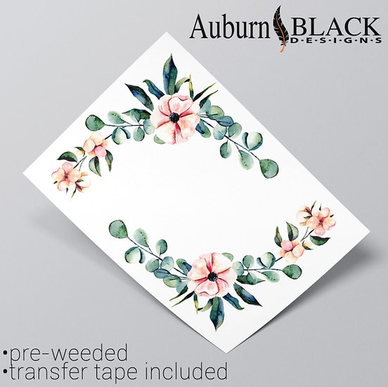 Pair Eucalyptus Floral Corners vinyl sticker ornaments
