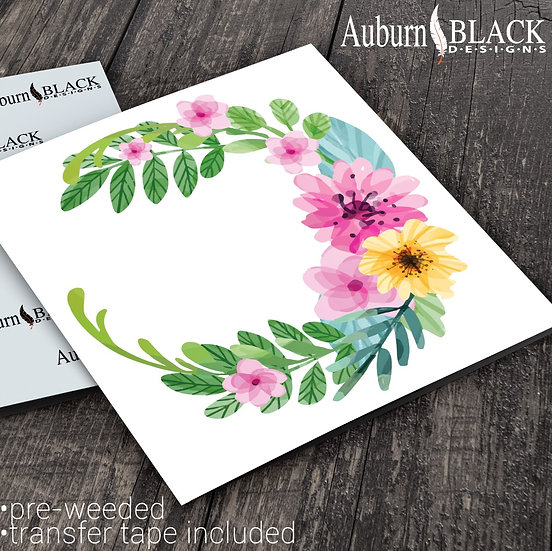 Floral and Foliage Wreath Frame vinyl decal sticker.