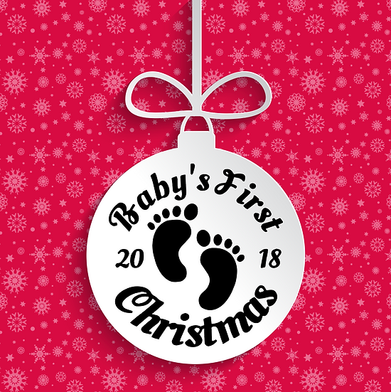Baby's First Christmas Bauble Vinyl Decal with date