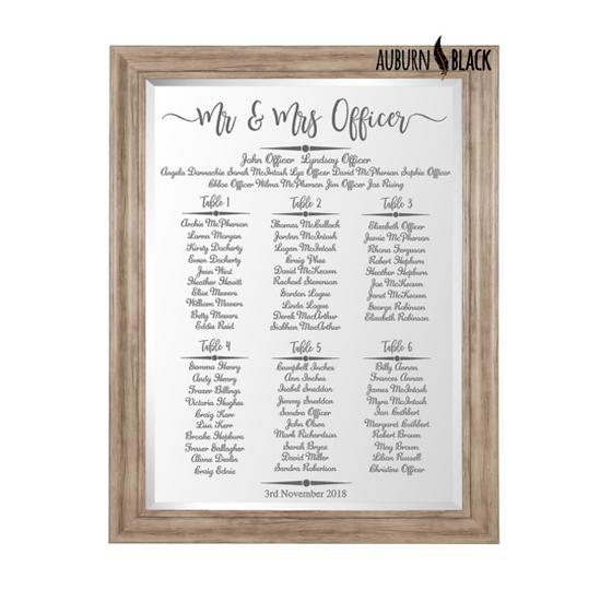 Table Plan - Swirl Design Mirror Vinyl for weddings