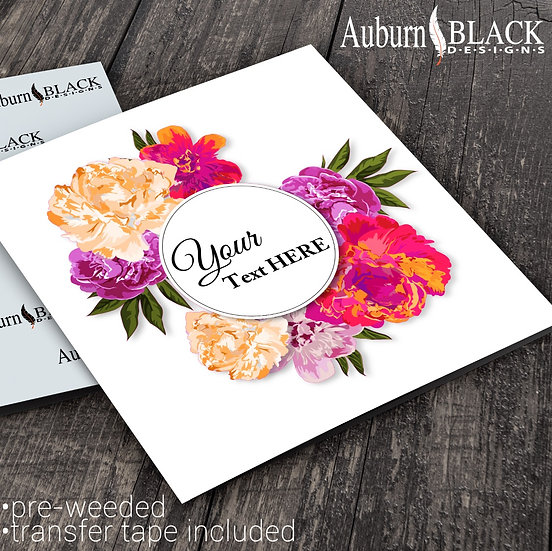 Personalised Multicolour Floral vinyl decal sticker