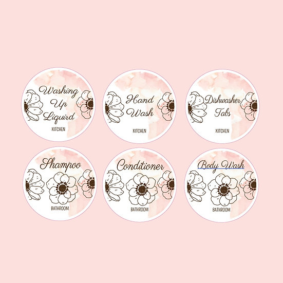Custom Kitchen and Bathroom Product Labels (6) Floral Rose Gold