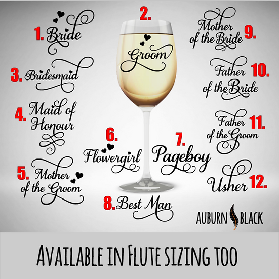 Swirl Wedding vinyls - Champagne flute / Wine glass vinyls