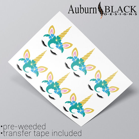 Unicorn Eyelash Turquoise Vinyl Stickers