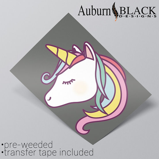 A4 Pastel Unicorn Head Vinyl Sticker
