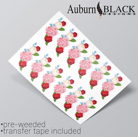 Floral Embellishment red white pink rose vinyl sticker ornaments