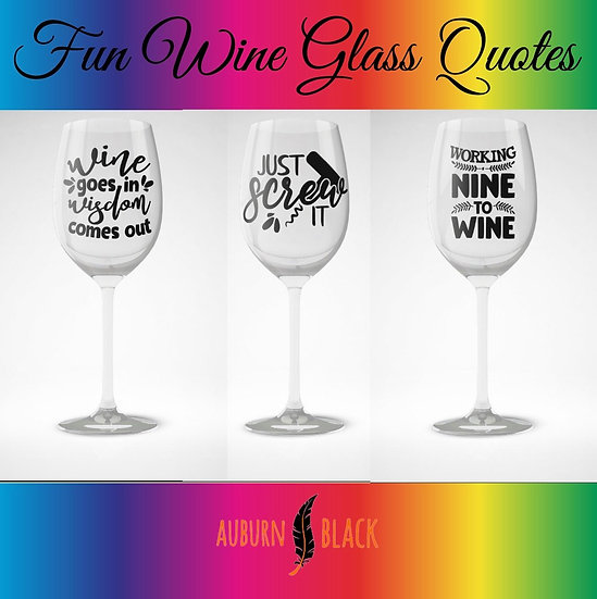 Fun wine glass vinyls - Set 3