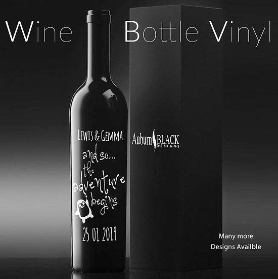 ...and so the adventure begins Personalised Wine Bottle Vinyl
