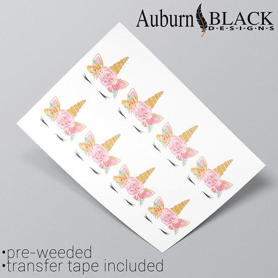 Mixed Floral Unicorn Vinyl Stickers