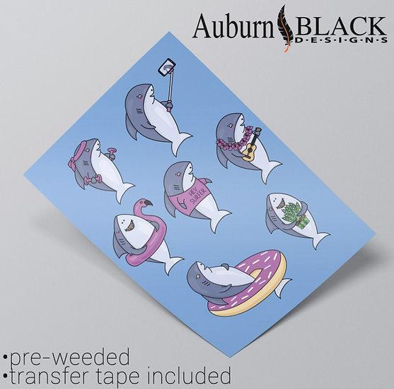 Funny Shark Planner Spread Stickers