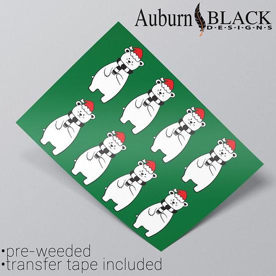 Polar Bear in Christmas Hat Vinyl Stickers