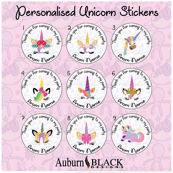 Unicorn birthday party stickers