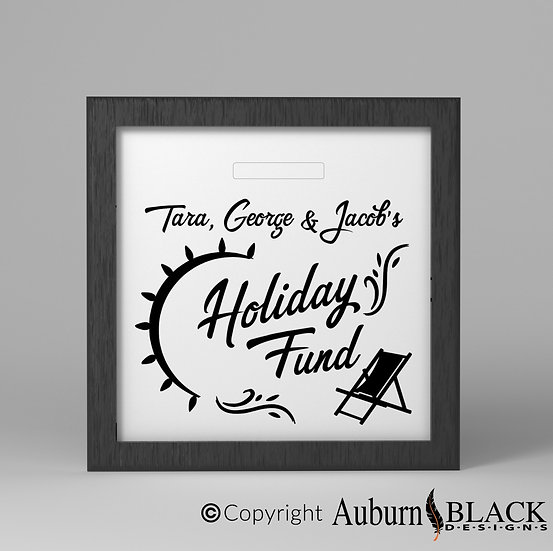 Personalised Holiday Fund Vinyl Decal with deckchair