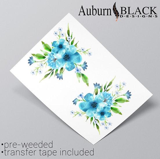 Pair of bluefloral corner floral corner vinyl sticker ornaments