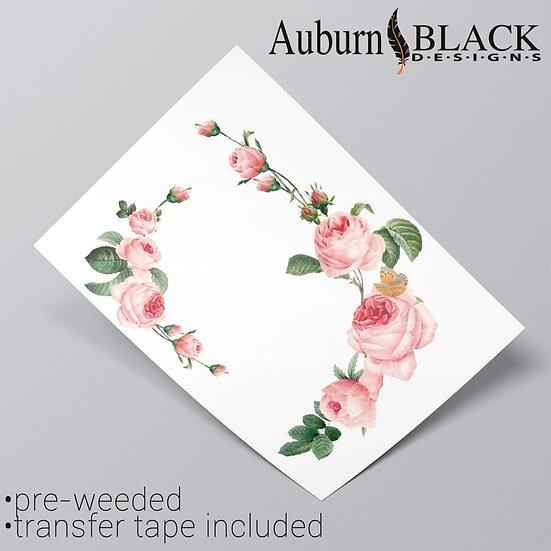 Pair of pink rose floral corner vinyl sticker ornaments