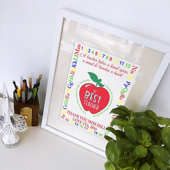 Personalised Best Teacher ABC 123 Print