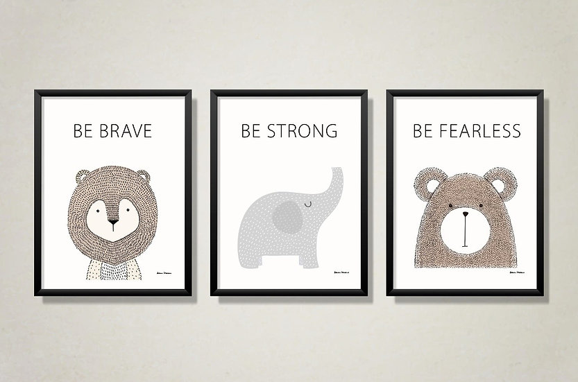 Be brave motivational print set