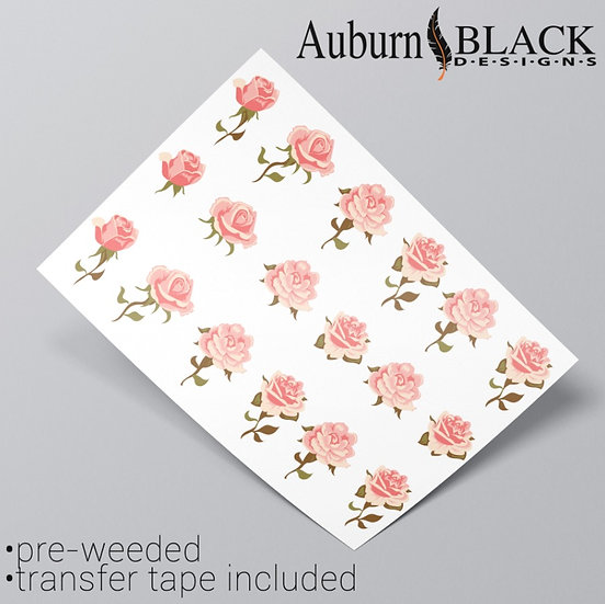 Pastel Pink Roses Vinyl Stickers