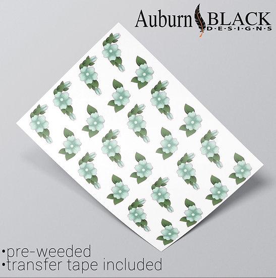 Teal Floral sheet of corner pair vinyl decal stickers