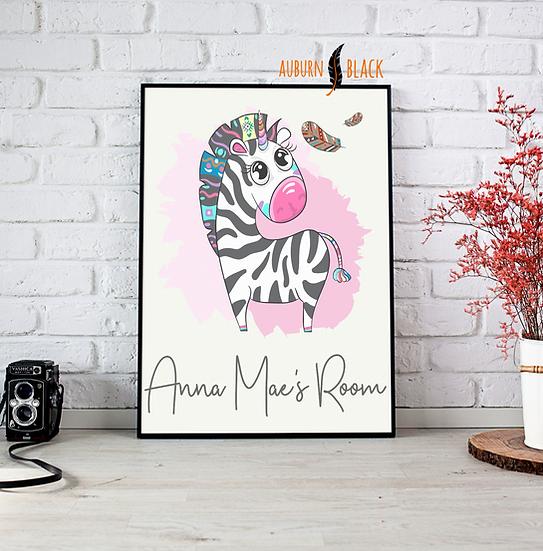 Funky Zebra Bedroom Print