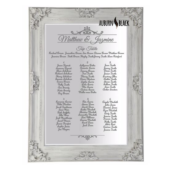 Table Plan - Regal Header Design Mirror Vinyl for weddings