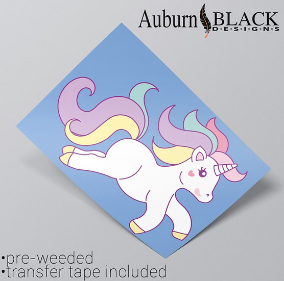 A4 Pastel Unicorn Leaping Vinyl Sticker