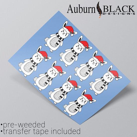 Bunny Rabbit in Christmas Hat Vinyl Stickers