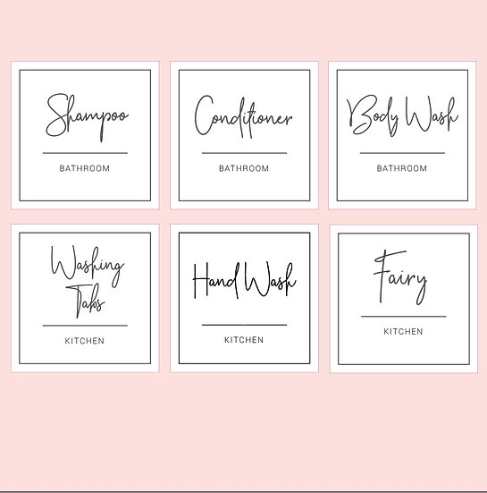 Custom Kitchen and Bathroom Product Labels (6) Elegant Black and White