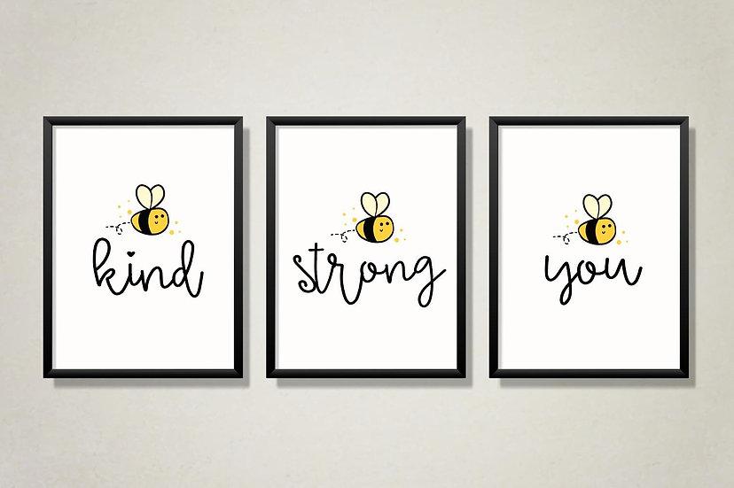 Be kind motivational print set