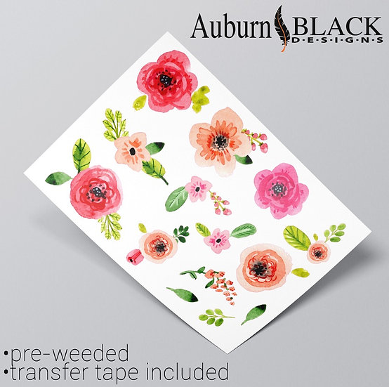 Pastel Roses and Foliage Vinyl Decal Stickers