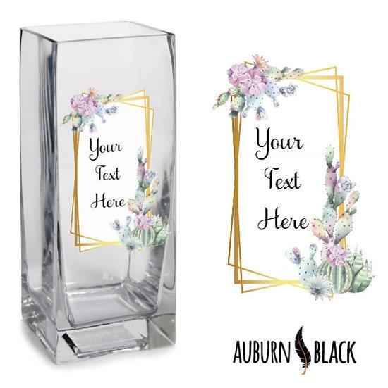 Personalised vase vinyl lilac flowers