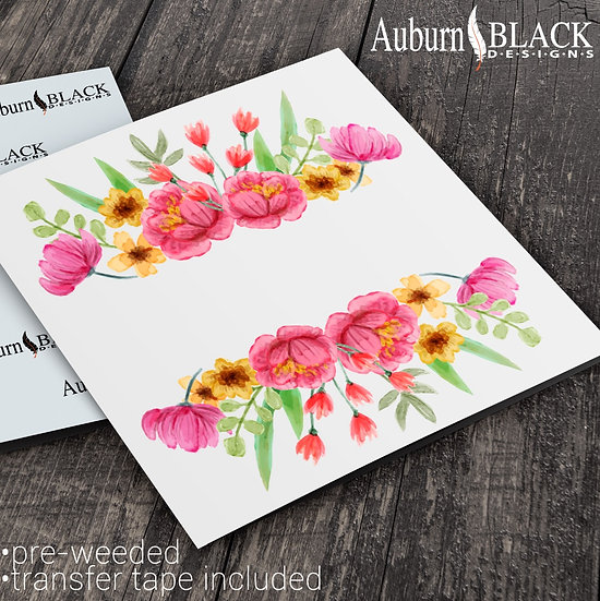 Pink and Yellow top and Tail Floral vinyl decals