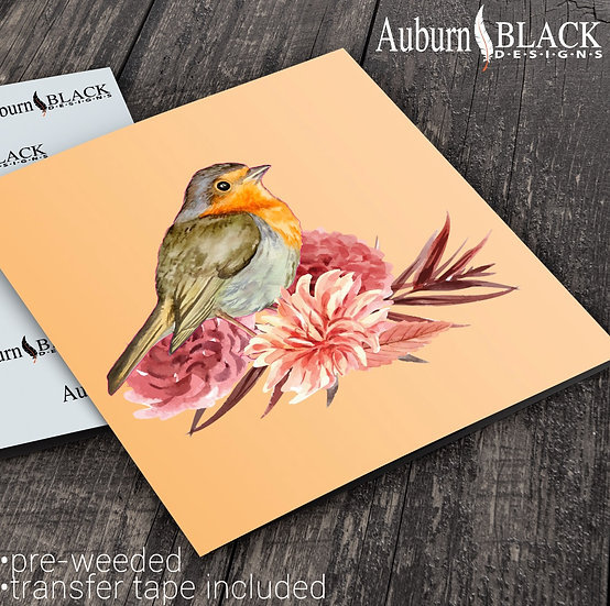 Robin with flowers and Foliage vinyl decals