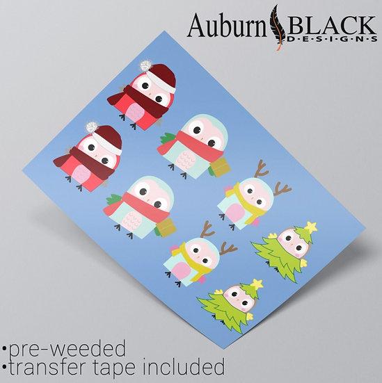 Christmas Owl Family Vinyl Stickers