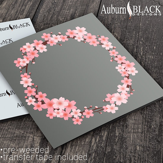 Pink Blossom Wreath Frame vinyl decal sticker