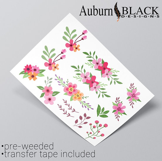 Bright Floral and foliage vinyl sticker ornaments