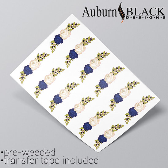 Floral Embellishment Navy and white rose vinyl sticker ornaments