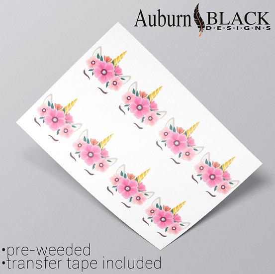 Pink Floral Unicorn Vinyl Stickers