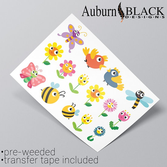 Insects and Flowers Vinyl Stickers