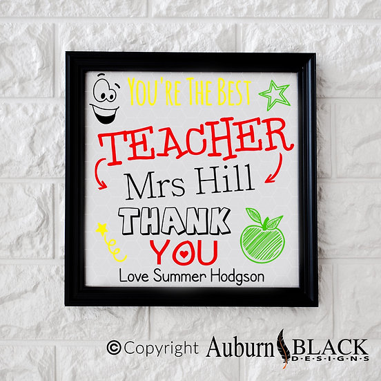 Personalised Best Teacher... colour Frame Vinyl Decal
