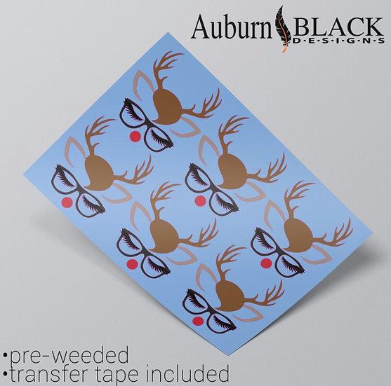 Reindeer with glasses Vinyl Stickers