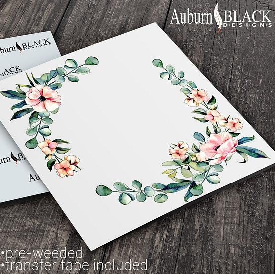 Eucalyptus floral Wreath Frame vinyl decal sticker