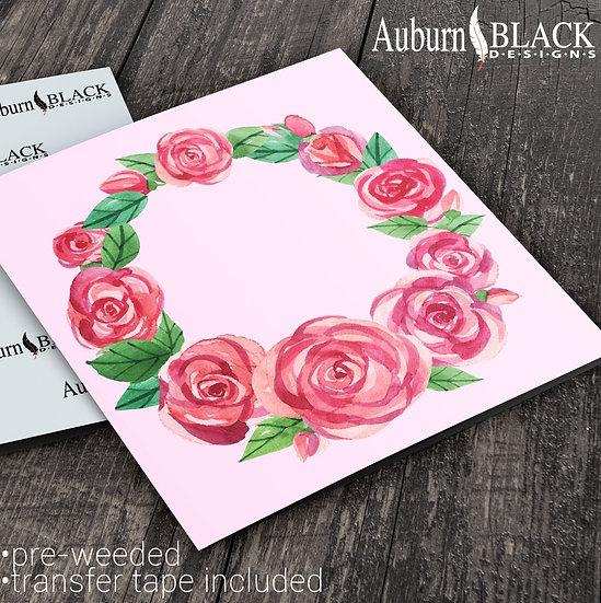 Red Watercolour Rose Wreath Frame vinyl decal sticker
